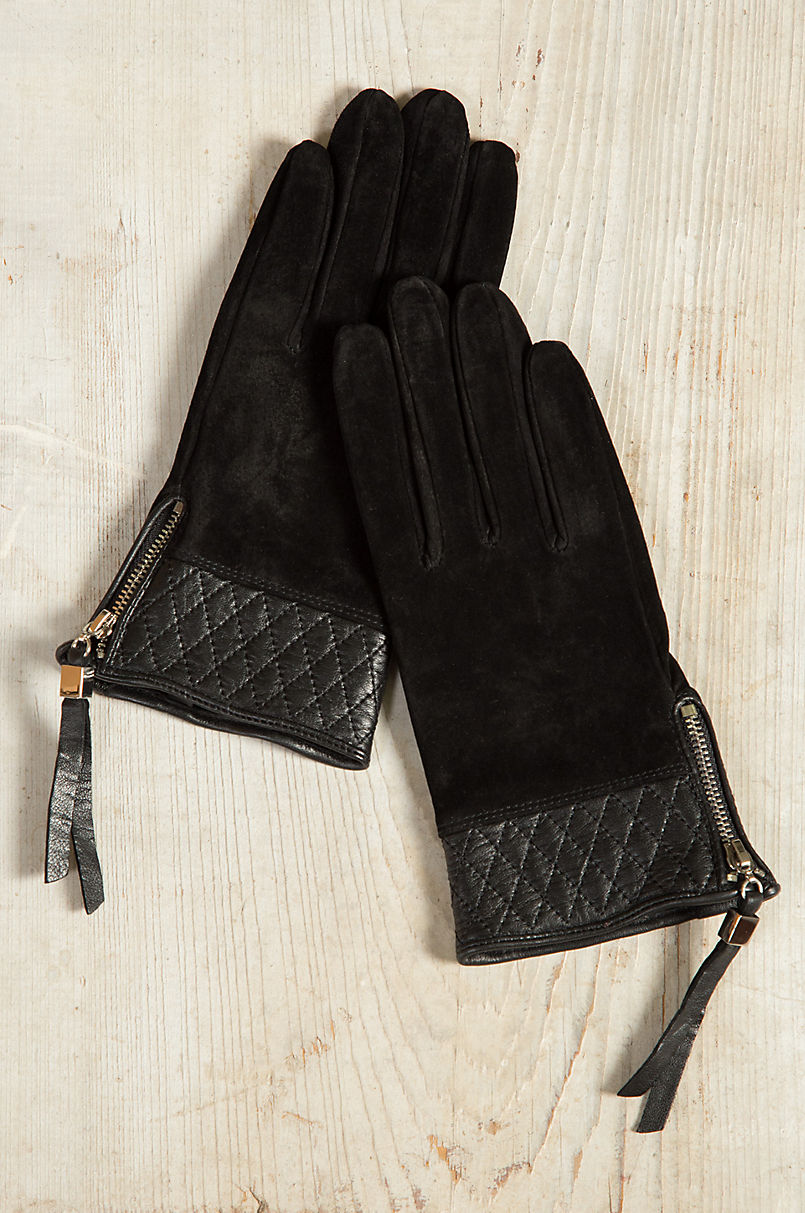 f6c6503d5b8 Women's Dents Molly Suede Leather Gloves with Quilted Leather Trim ...