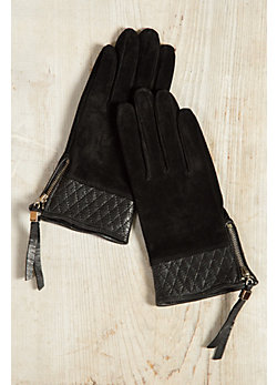 Women's Dents Molly Suede Leather Gloves with Quilted Leather Trim