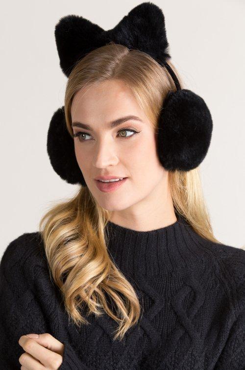 Rex Rabbit Fur Earmuffs with Bow