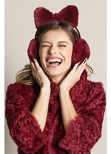 Rex Rabbit Fur Earmuffs with Bow