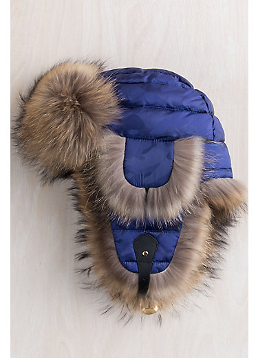 Sapphire Camo Down-Filled Trapper Hat with Raccoon Fur Trim