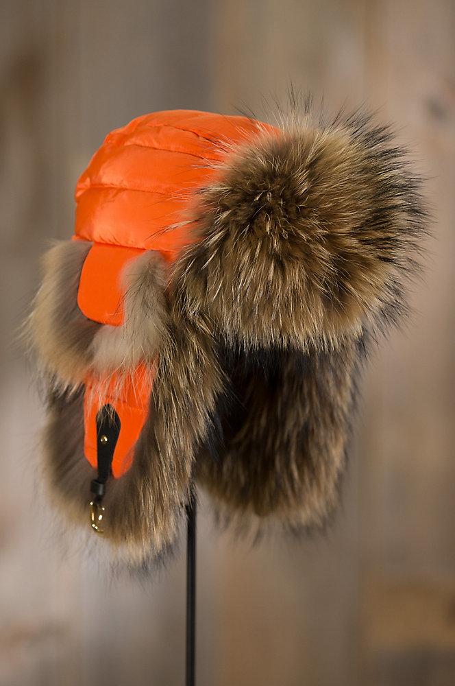 Orange Down-Filled Trapper Hat with Raccoon Fur Trim