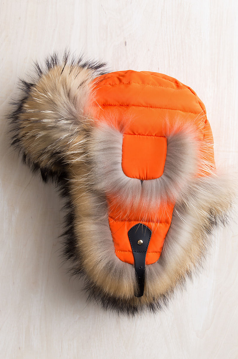 Orange Down-Filled Trapper Hat with Raccoon Fur Trim  bf09541ce6e