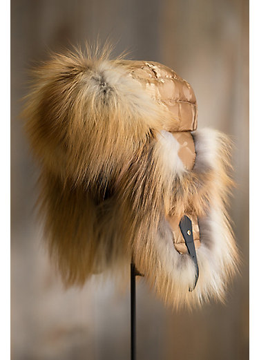Gold Camo Down-Filled Trapper Hat with Red Fox Fur Trim