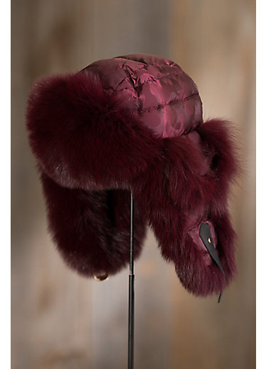 Burgundy Camo Down-Filled Trapper Hat with Blue Fox Fur Trim
