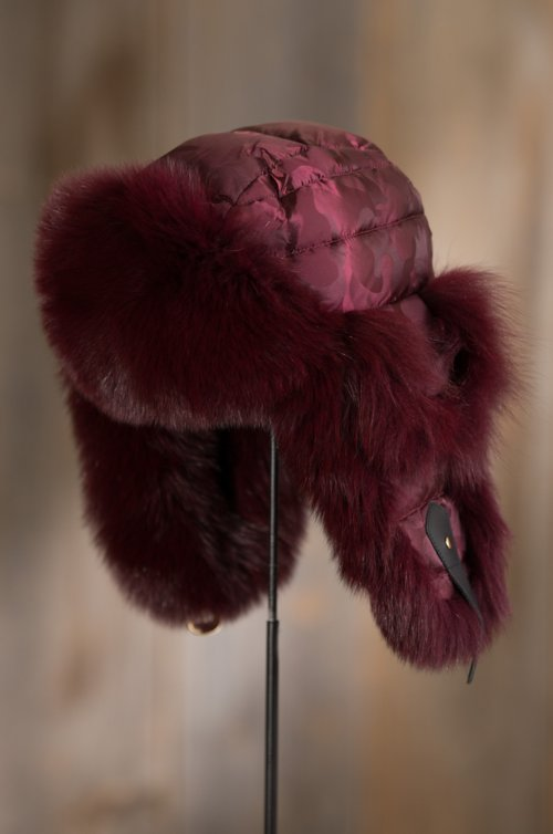 Burgundy Camo Down-Filled Trapper Hat with Blue Fox Fur Trim