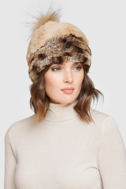 Stretch Rex Rabbit Fur Beanie Hat with Raccoon Fur Pom