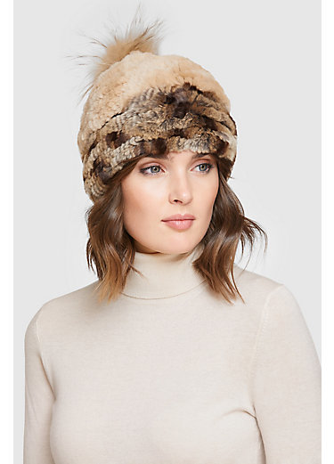 Women's Stretch Rex Rabbit Fur Beanie Hat with Raccoon Fur Pom