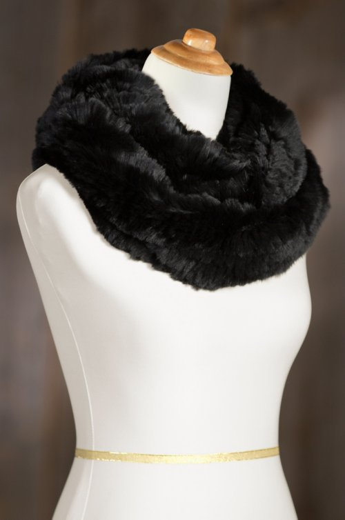 Knitted Rex Rabbit Fur Infinity Scarf