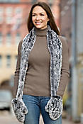 Knitted Rex Rabbit Fur Scarf with Mittens