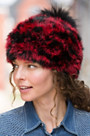 Women's Rabbit Fur Beanie Hat with Detachable Fox Fur Pom