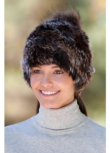Rabbit Fur Beanie Hat with Detachable Fox Fur Pom