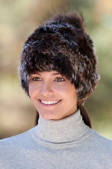 Women's Rabbit Fur Beanie Hat with Detachable Fox Fur Pom