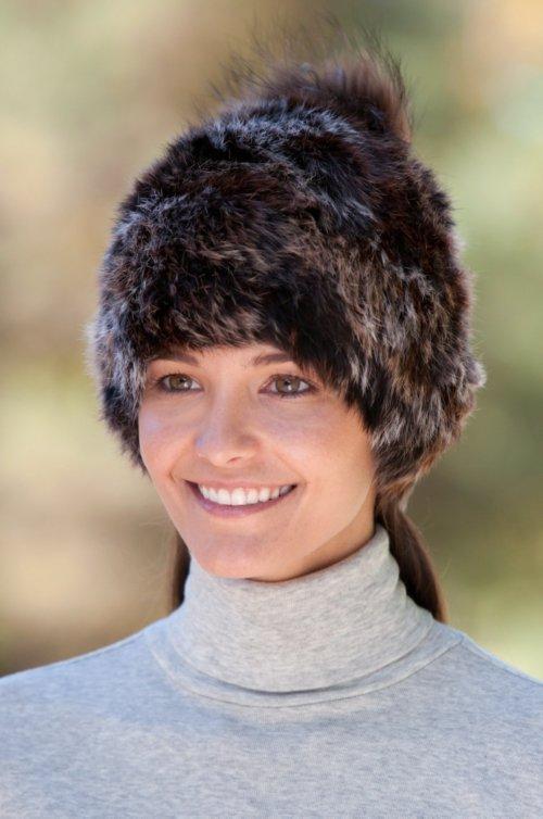 Rabbit Fur Beanie Hat with Detachable Fox Fur Pom