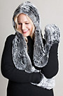 Knitted Rex Rabbit Fur Hooded Scarf with Mittens