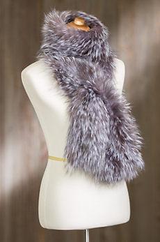 Indigo Knitted Fox Fur Scarf