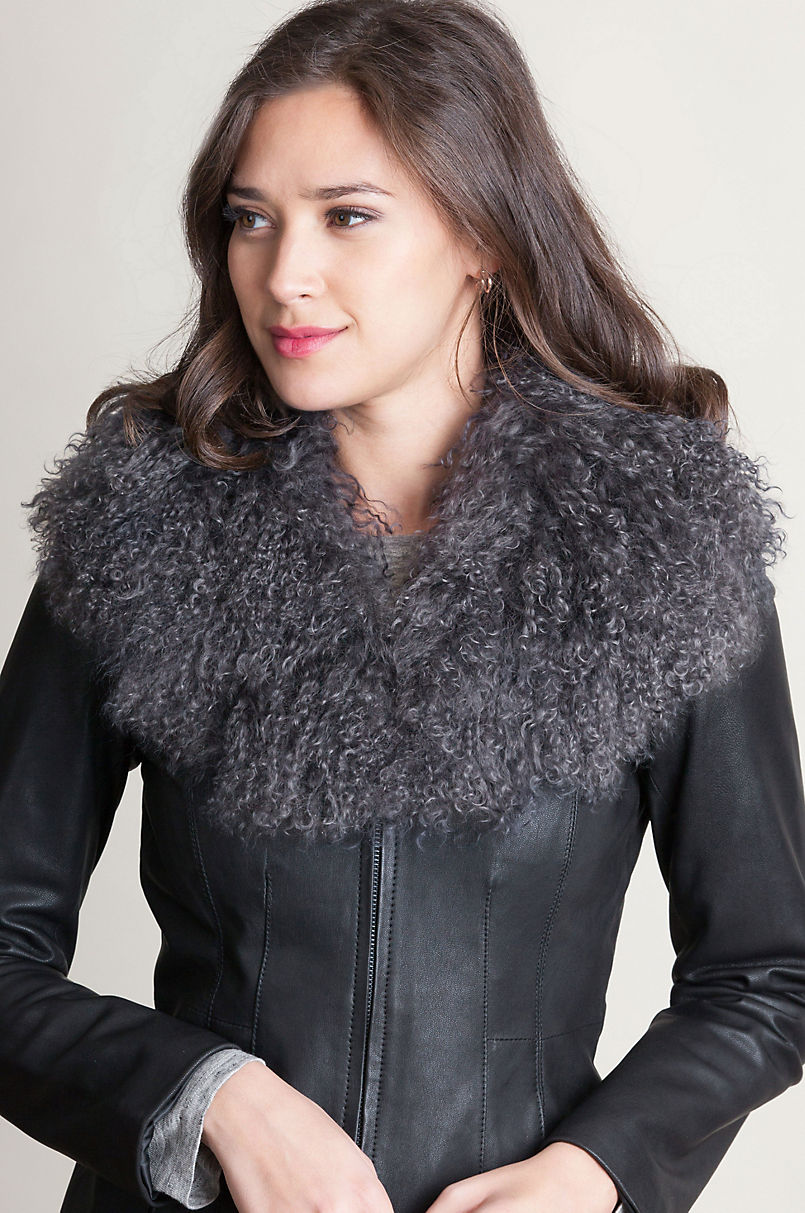 Tibetan Curly Lamb Fur Shawl Collar