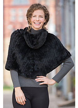 Knitted Rex Rabbit Fur Cowl-Neck Poncho