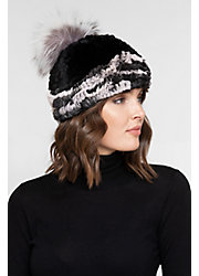Women's Stretch Rex Rabbit Fur Beanie Hat with Detachable Raccoon Fur Pom