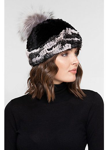 Stretch Rex Rabbit Fur Beanie Hat with Detachable Raccoon Fur Pom