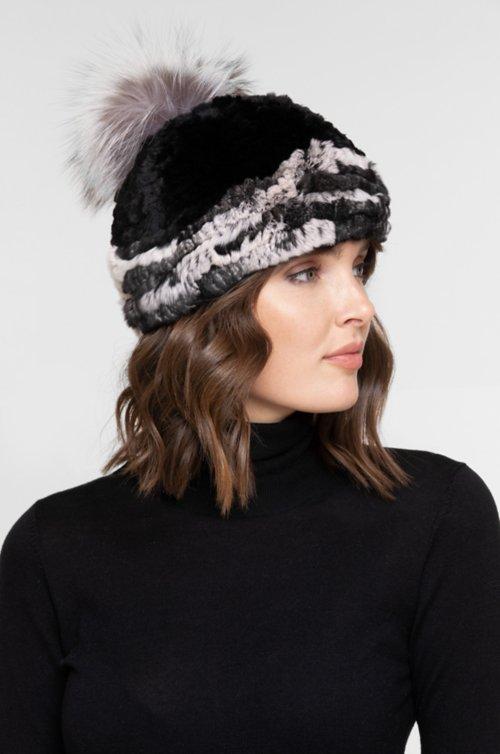 Stretch Rex Rabbit Fur Beanie Hat with Detachable Raccoon Fur Pom