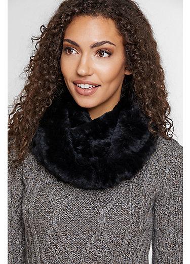 Elegant Knitted Rex Rabbit Fur Infinity Scarf