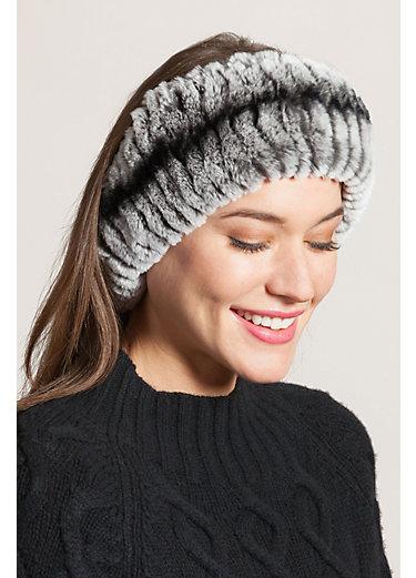 Convertible Knitted Rex Rabbit Fur Neck Warmer and Headband