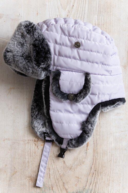 Children's Quilted Trapper Hat with Rex Rabbit Fur