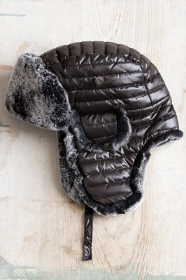 Quilted Black Trapper Hat with Rex Rabbit Fur Lining