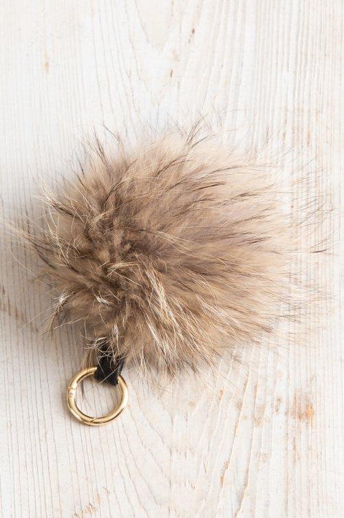 Raccoon Fur Pom Keychain
