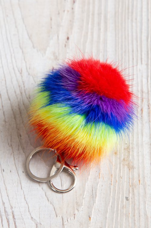Small Mink Fur Rainbow Keychain