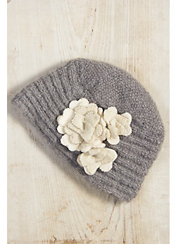 Women's Handmade Dahlia Angora Wool Hat with Fleece Lining