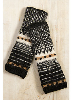 Women's Handmade Long Striped Wool Wristwarmers