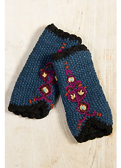 Women's Handmade Embroidered Wool Wristwarmers