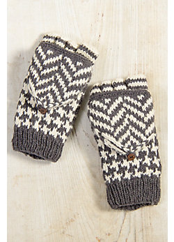 Houndstooth Fingerless Wool Gloves with Mitten Flap