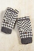 Women's Houndstooth Fingerless Wool Gloves with Mitten Flap