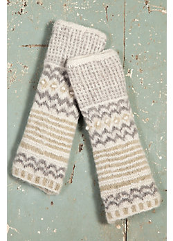Women's Nepalese Stripes Handmade Wool-Blend Wrist Warmers