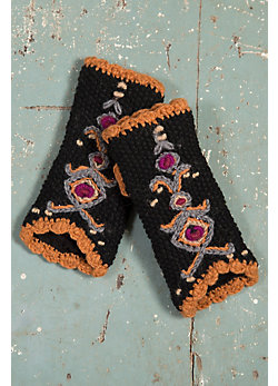 Women's Nepalese Embroidered Handmade Wool Fingerless Gloves