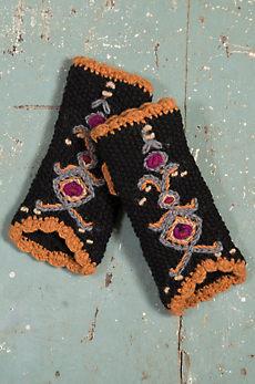 Women's Nepalese Embroidered Handmade Wool Wrist Warmers