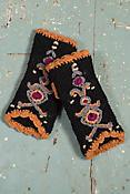 Women's Nepalese Embroidered Handmade Wool Fingerless Gloves