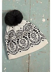 Women's Plush Lace Handmade Peruvian Alpaca Wool Beanie Hat