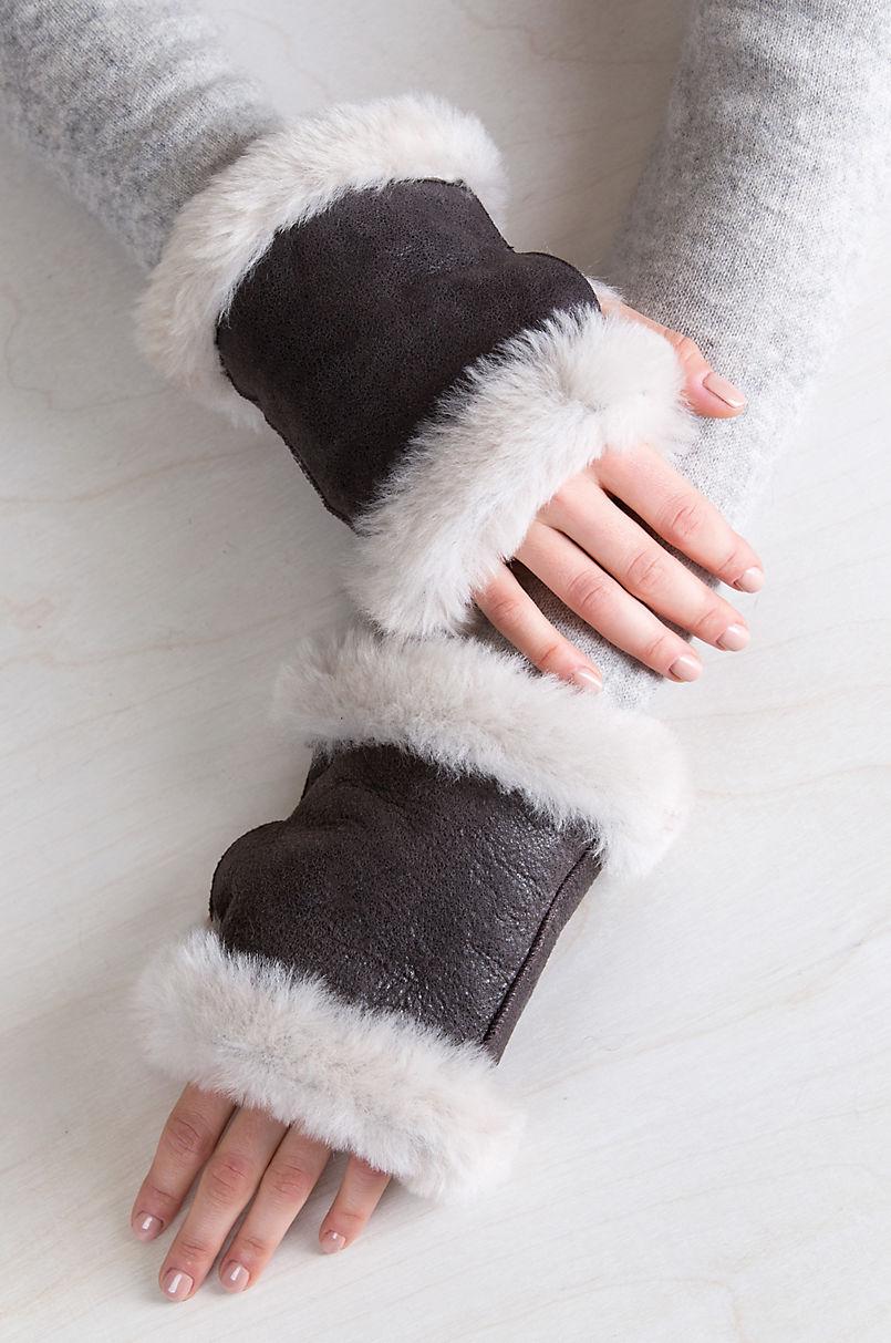 B-3 Sheepskin Fingerless Gloves