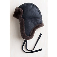 1930s Mens Hat Fashion B-3 Sheepskin Aviator Hat BLACKBROWN Size XXLARGE $75.00 AT vintagedancer.com