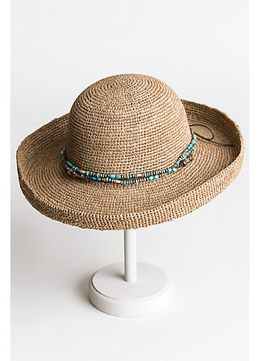Gilchrist Crocheted Shapeable Raffia Kettle Brim Hat