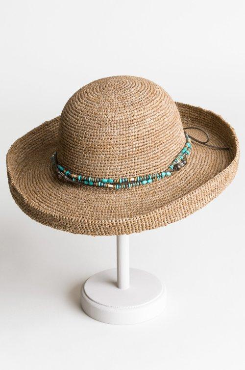 Overland Gilchrist Crocheted Shapeable Raffia Kettle Brim Hat
