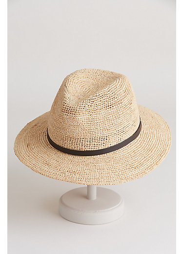 Packable Crocheted Raffia Fedora Hat