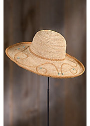 Crocheted Raffia Kettle Brim Hat