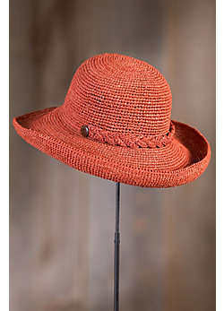 Crocheted Braid Raffia Kettle Brim Hat