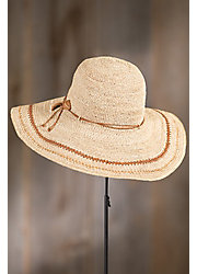 Crocheted Raffia Floppy Hat