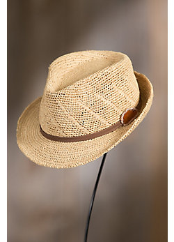 Crocheted Raffia Fedora Hat